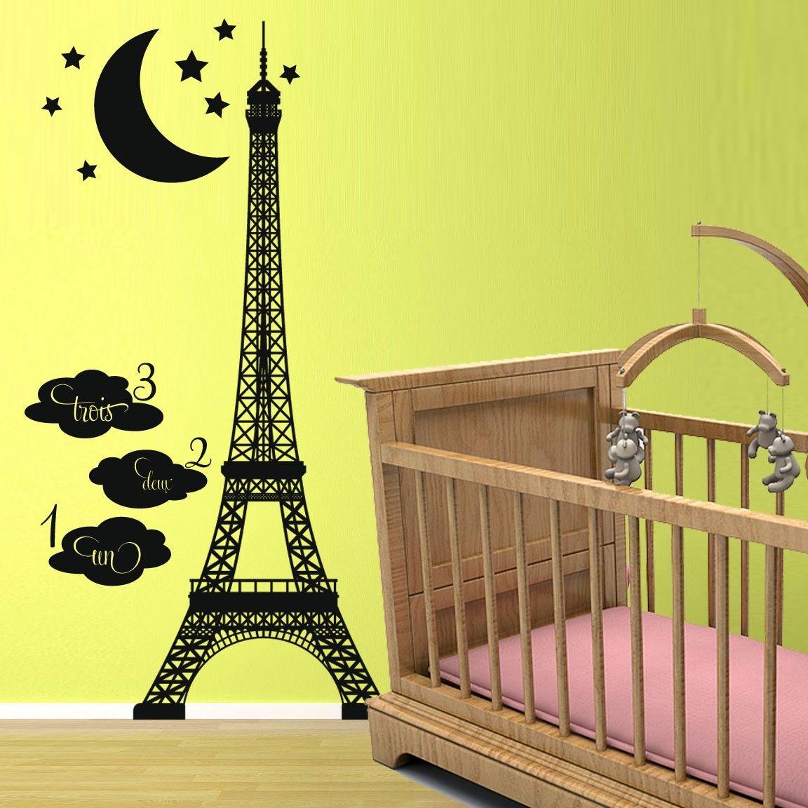Vinyl Wall Decal Sticker Art -Eiffel Tower Growth Chart | Bedrooms ...