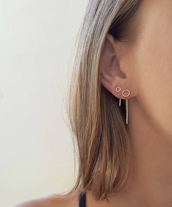 Petites boucles d'oreilles en argent, boucles d'oreilles en fil, petites boucles d'oreilles remplie