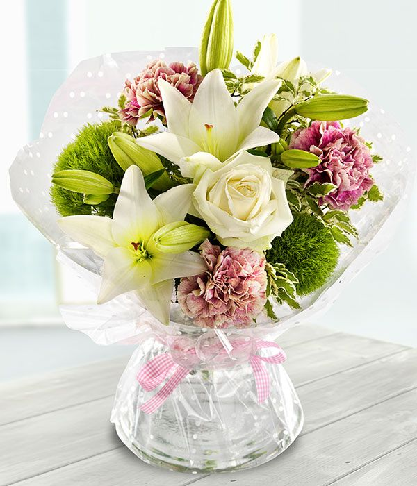 From Me to You - white rose & lily mothers day flower bouquet ...