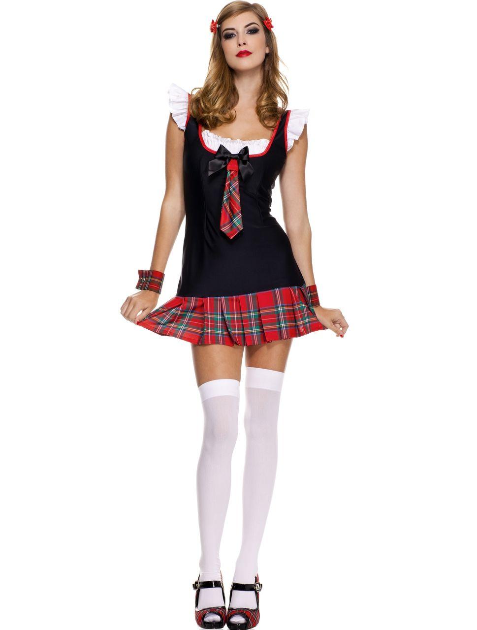 Music legs red plaid skirt school bedroom costume