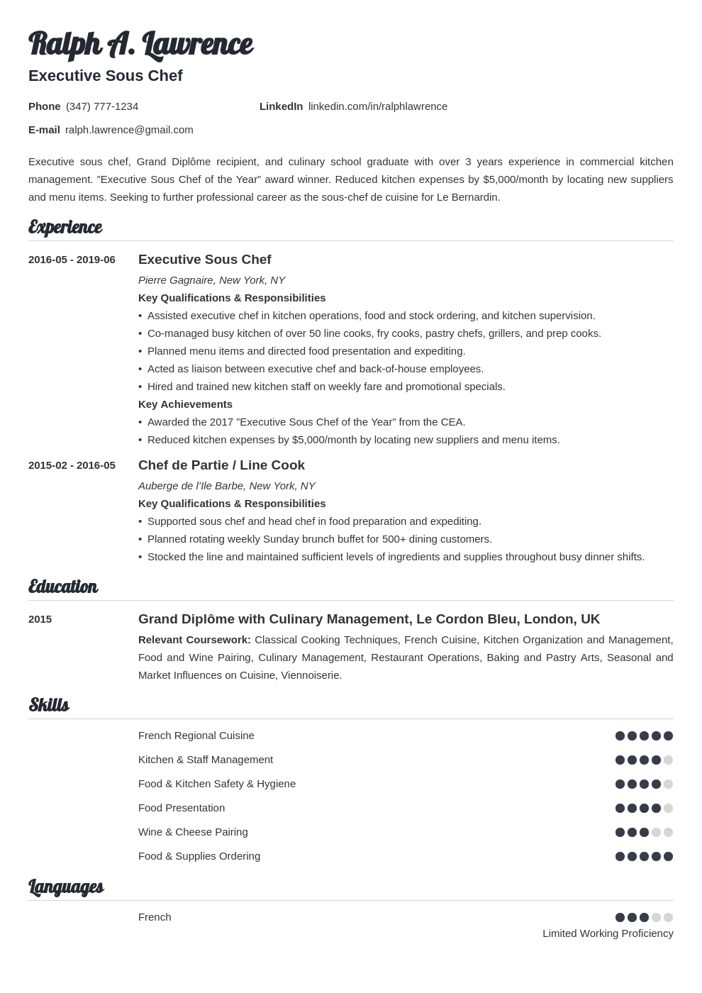 Sous Chef Resume Example Template Valera Chef Resume Resume Examples Job Resume Examples