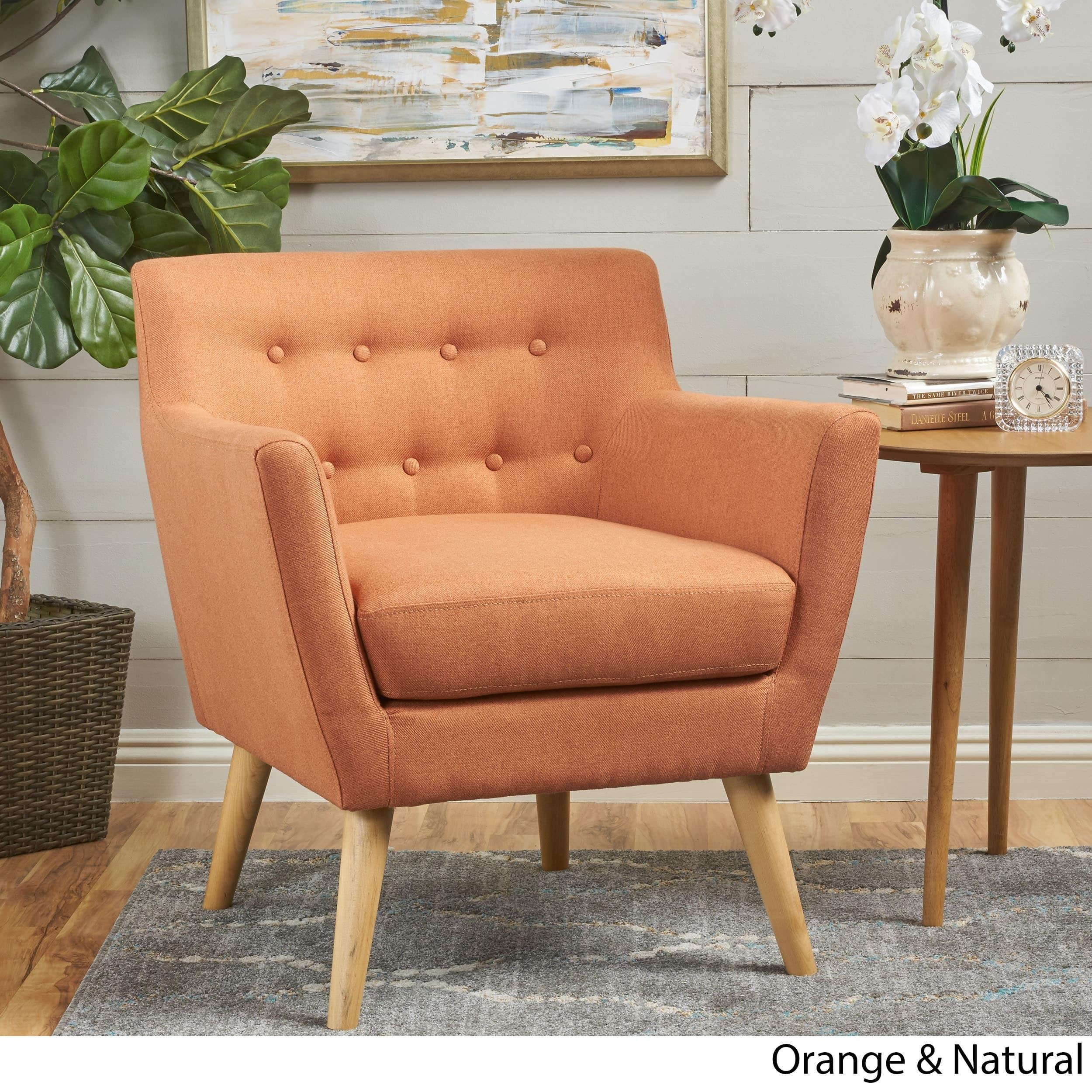 Phenomenal Meena Buttoned Mid Century Modern Fabric Club Chair By Machost Co Dining Chair Design Ideas Machostcouk