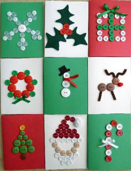 Postales de Navidad fciles Pinterest Botones Tarjetas y Navidad