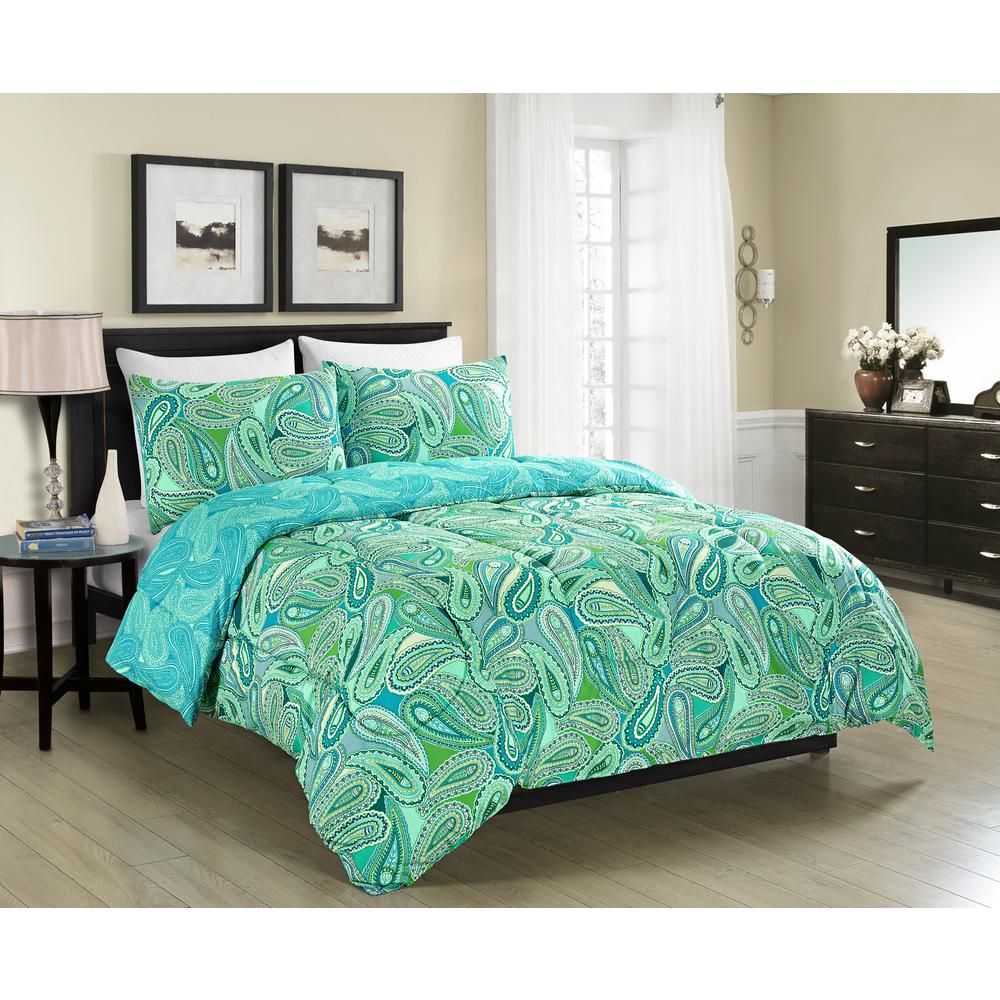 Morgan Home 3 Piece Aqua Queen Comforter Set M570346 Bedroom