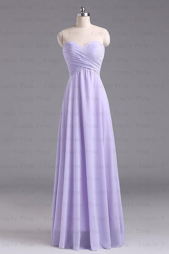 A-line Sweetheart Floor-length Sleeveless Purple Long Chiffon Prom ...
