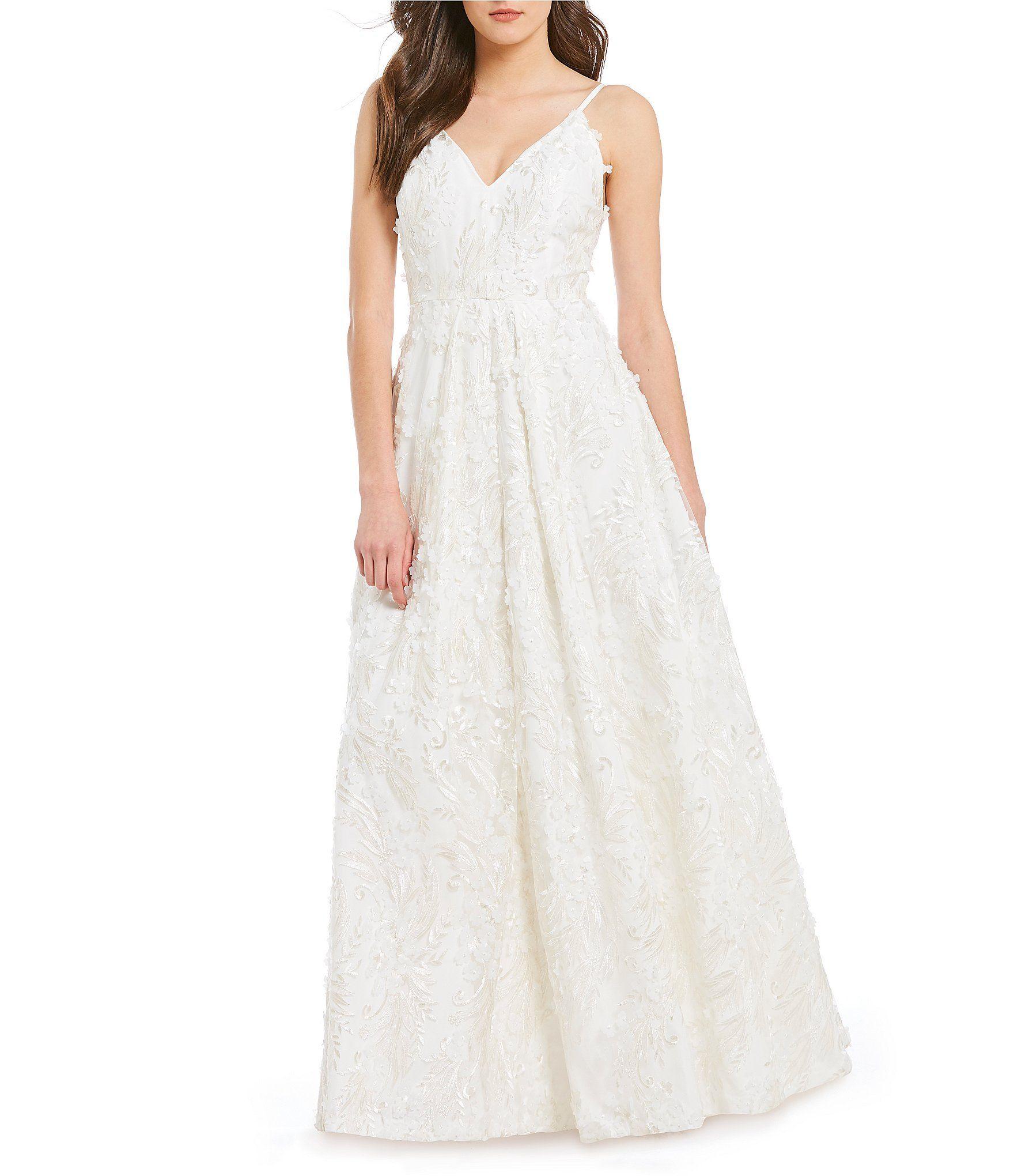 Calvin Klein Sleeveless Embroidered Applique V-Back Gown | Dillards ...