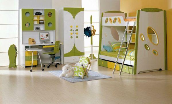 idee kinderzimmer gestaltung gelb grün akzente
