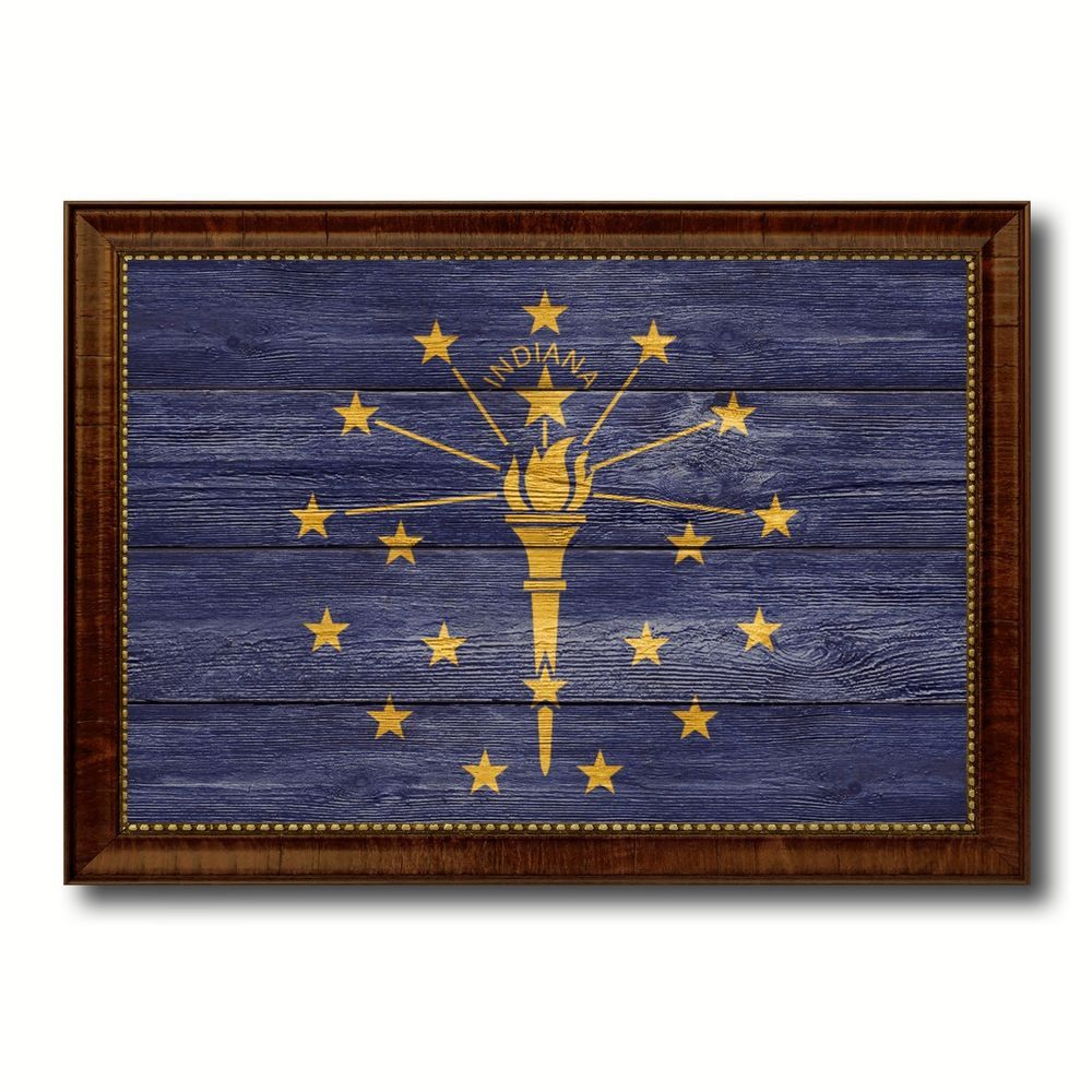 Indiana State Flag Art Gift Vintage Rustic Western ManCave Bar Home ...