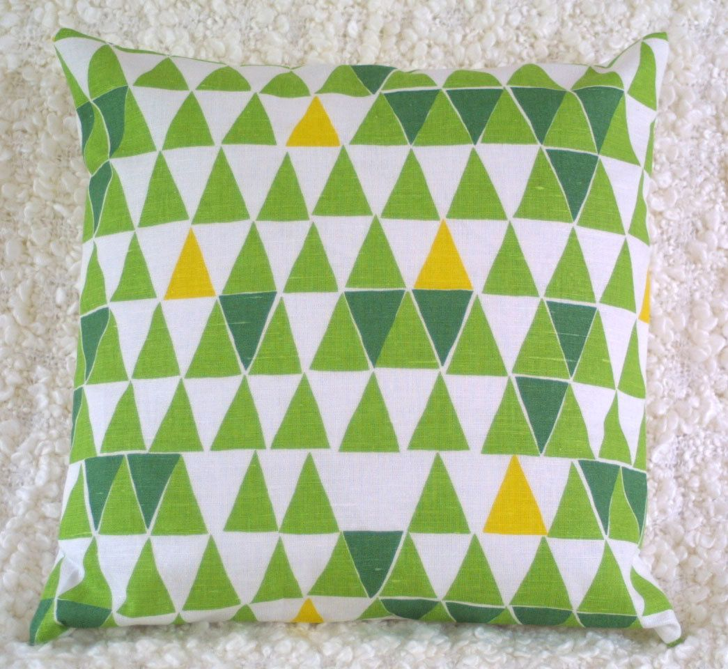Geometric cushion cover in green from thirtyfive flowers