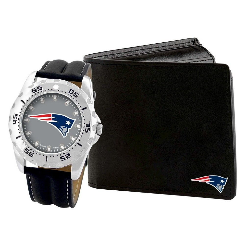 Men's Game Time NFL Sports Watch and Wallet Set Black