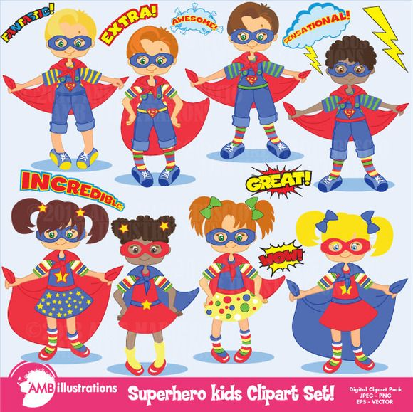 Superhero Kids Clipart AMB-113 | Shops, Kid and Superhero kids