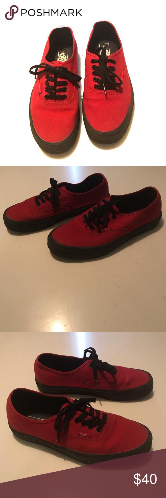 VANS- red canvas black rubber soles