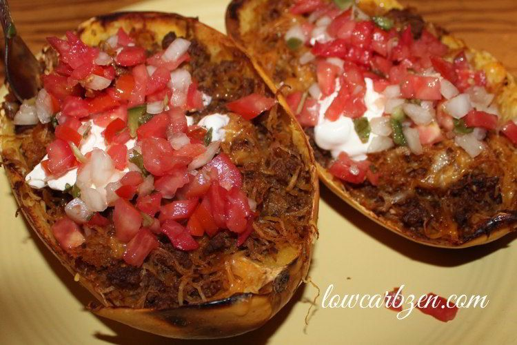 Low Carb Mexican Spaghetti Squash Boats