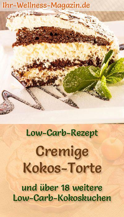 Cremige Low Carb Kokos-Torte - Rezept ohne Zucker