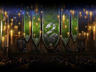 The Great Hall when Slytherin have momentarily won the House Cup.