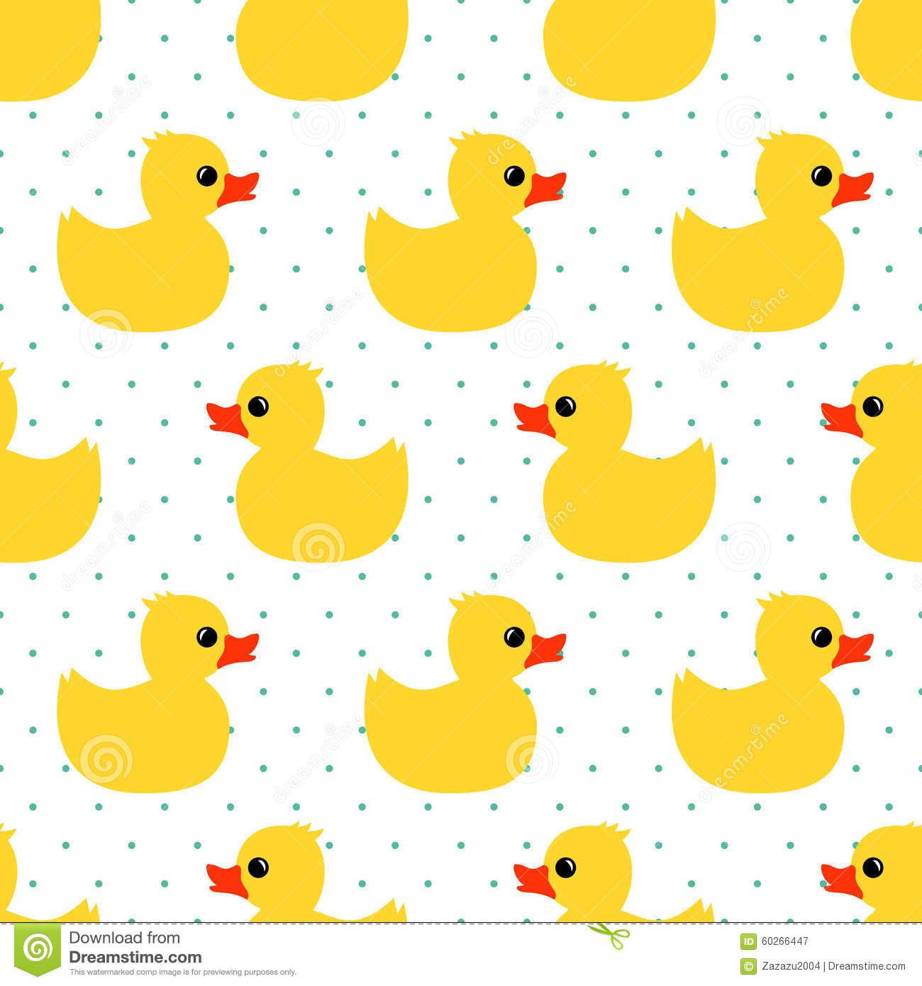 cute-seamless-pattern-yellow-rubber-duck-polka-dots-background-toy ...
