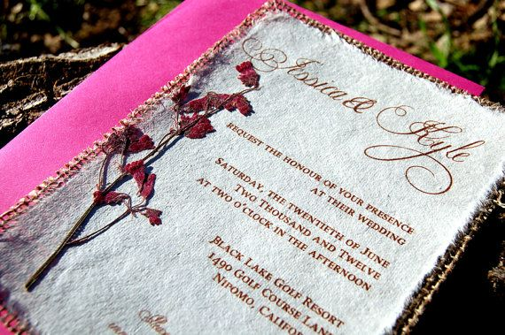 This invitation is printed on handmade mullberry paper and back with do it yourself diy rustic burlap coral wedding invitation by invitations by alecia solutioingenieria Image collections