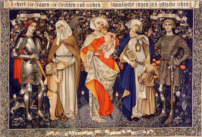 'Ehret die Frauen' tapestry design by Marianne Stokes, produced in 1912.