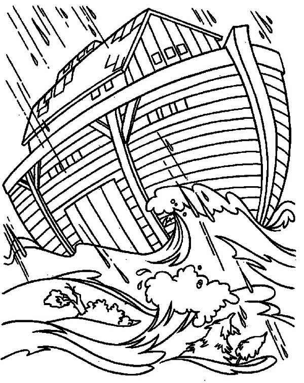 Noahs Ark In The Great Flood Coloring Page Coloring Pages Noahs Ark Bible Art