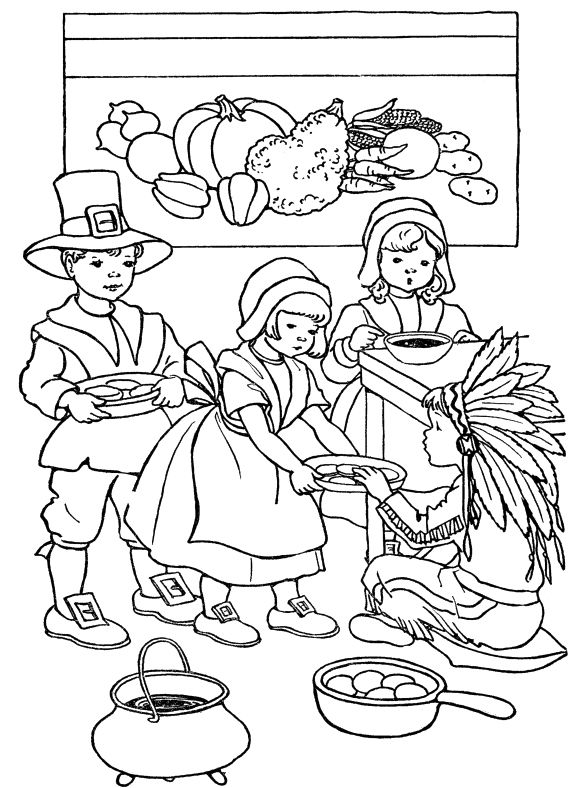 Kids Celebrate Thanksgiving Day Coloring Pages