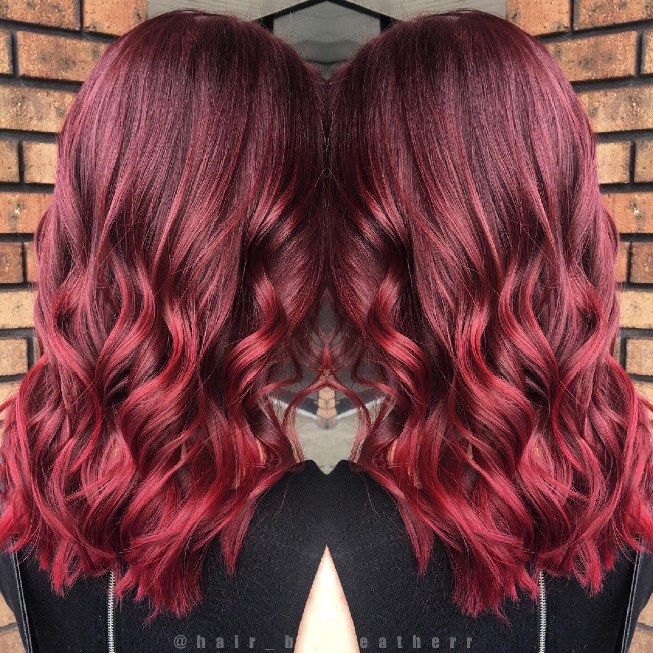 Beautiful Plum Red To Vibrant Red Balayage Ombre Ombre Hair Color Red Balayage Hair Styles