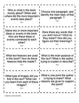Common Core Nonfiction Discussion Cards 2nd Grade 2nd Grade