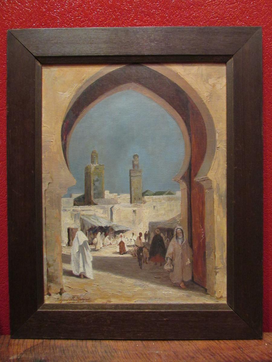 Ancien Tableau Huile Sur Toile Vers 1930 Orientaliste Porte Fes