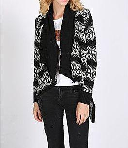 All Match Asymmetrical Geometrical Pattern Knitting Coat
