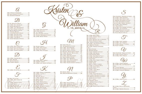 Wedding Seating Chart Table Assignments Reception Tables Plan Template With Flourished Names