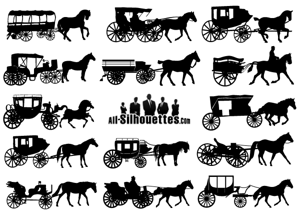 Vector Horse Drawn Carriage Silhouettes Free Vectors Pinterest