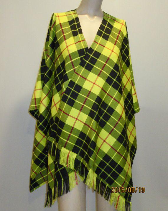 ca9327fe08e64 McLeod Of Lewis Plaid Poncho Wrap Poncho Style Wrap Yellow Black ...