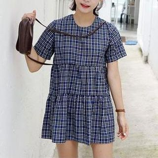 Buy Jolly Club Short-Sleeve Plaid Dress at YesStyle.com! Quality products at remarkable prices. FREE WORLDWIDE SHIPPING on orders over US$ 35.