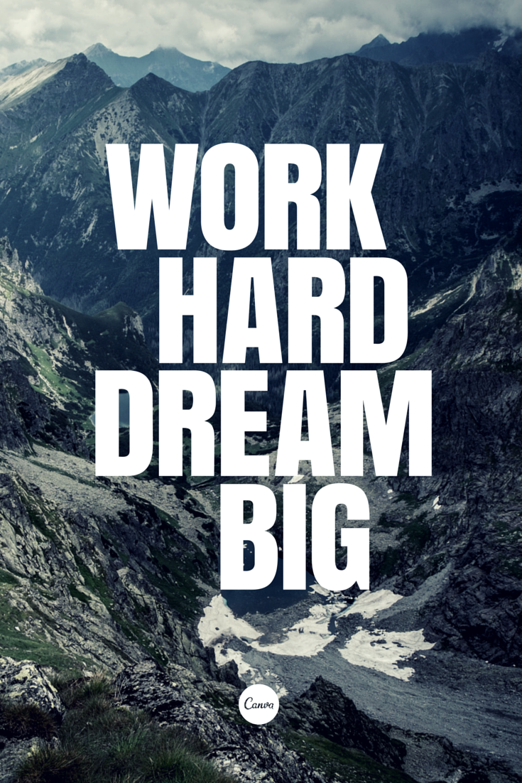 Work hard, dream big. #inspiration #quote #motivation ...