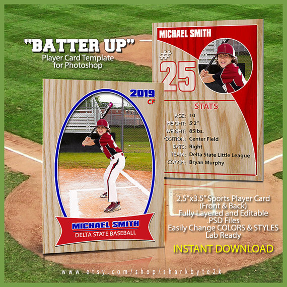 Baseball Sports Trader Card Template For Photoshop. BATTER UP ...
