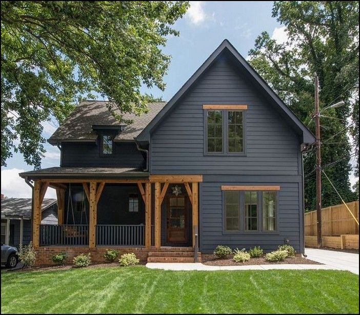 117 Fabulous Modern Farmhouse Exterior Design Ideas Design Exterior Fabulous Farmhouse Gray House Exterior House Paint Exterior Black House Exterior