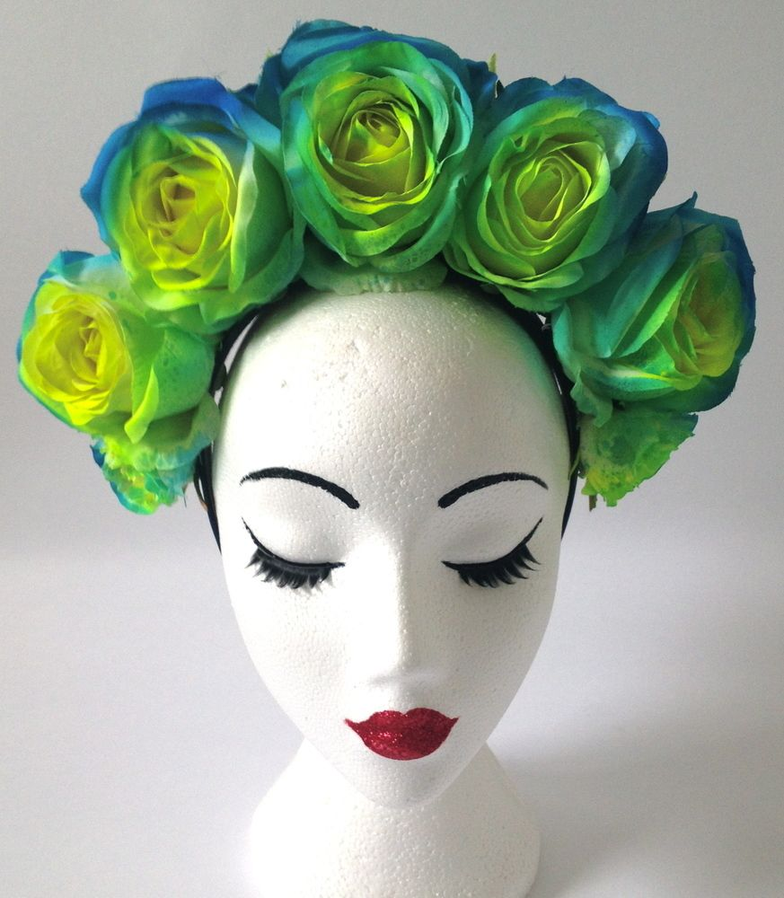 Neon Yellow Green And Blue Flower Crown One Of A Kind On A