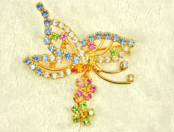 Prong Set Butterfly Brooch with Flower Dangle / by imagiLena, $20.00