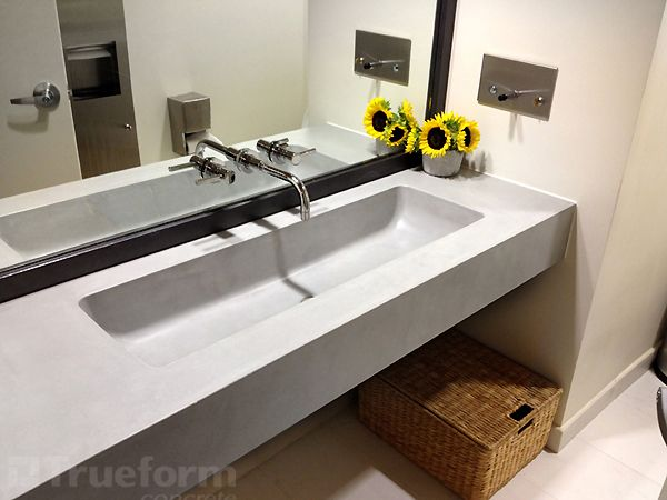 "Bathroom Sinks Nyc floating wall mount concrete bathroom sink with a 40"" sink - nyc"