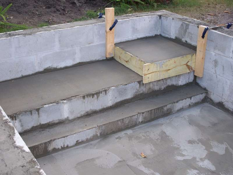 Concrete block pool kits concrete block puppy pool in for Cinder block pond
