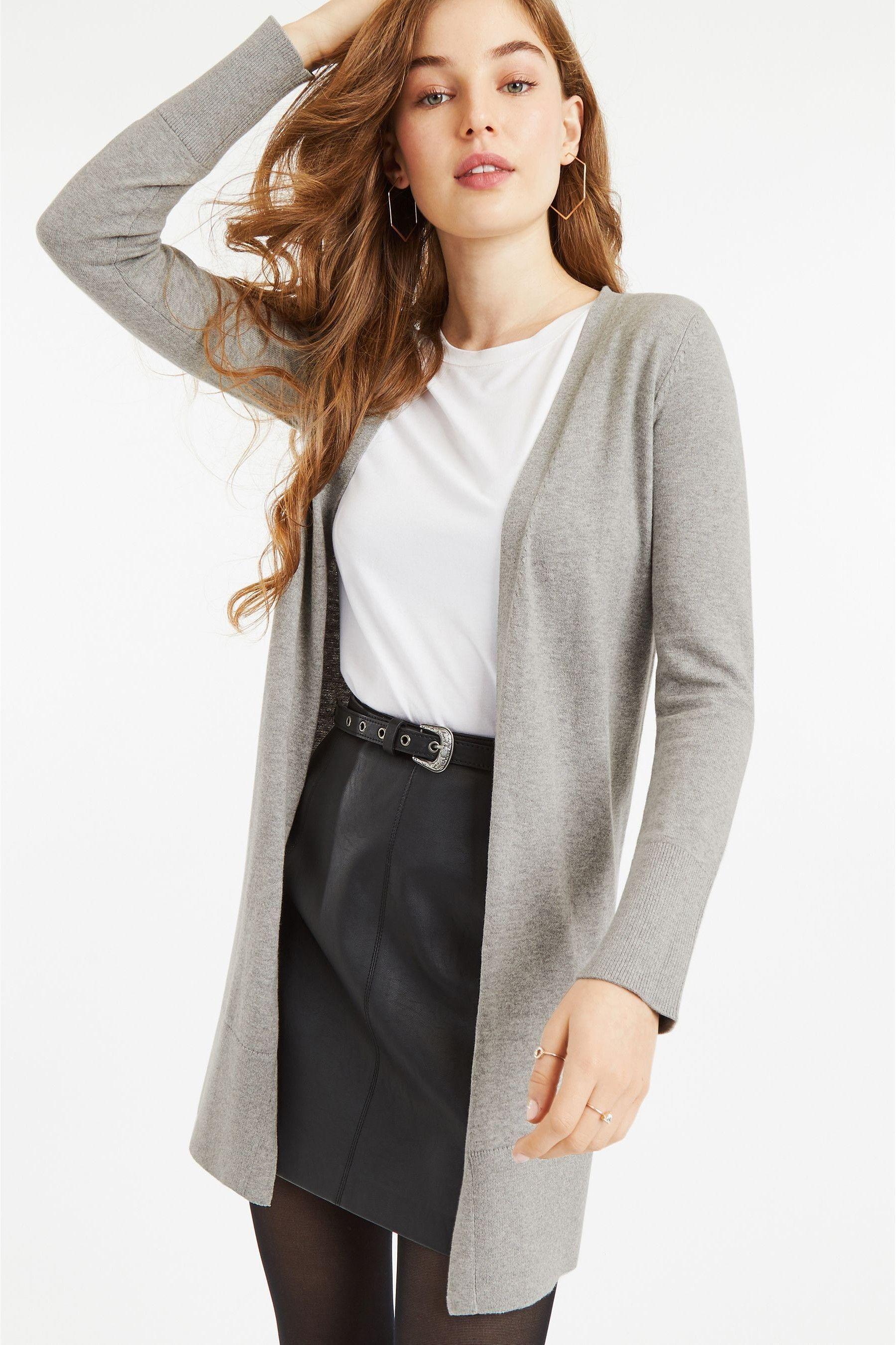Womens oasis piper cosy cardi grey longline cardigan