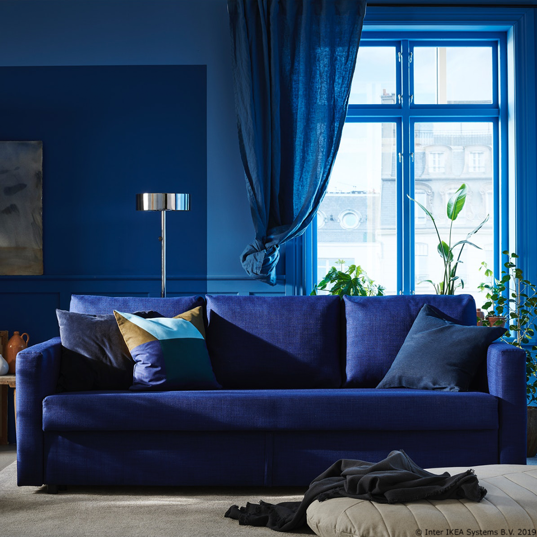 Canapeaua Friheten Devine Un Pat Numai Bun Pentru Oaspeți Blue Velvet Sofa Living Room Velvet Sofa Living Room Sleeper Sofa