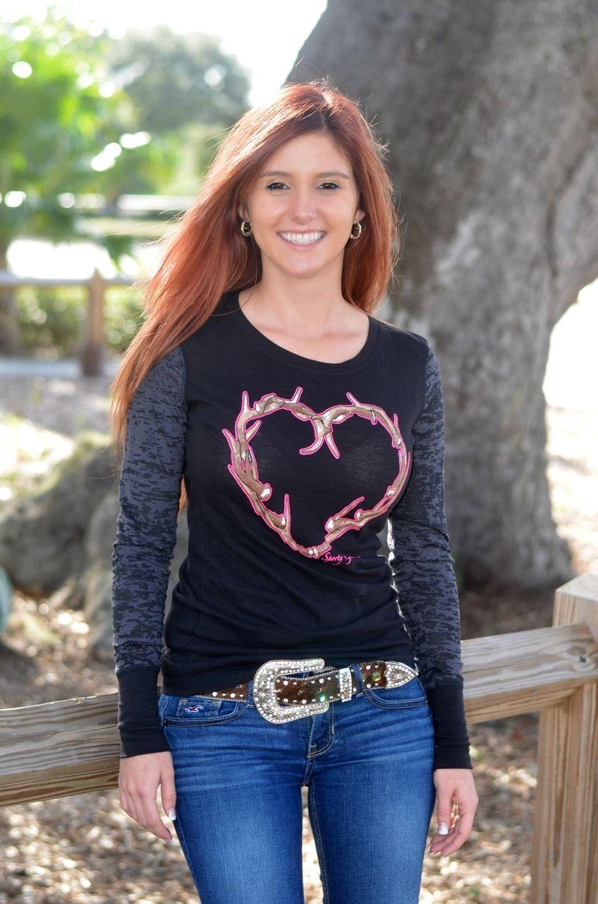 abca76aa0cd Sporty Girl Apparel - Black long sleeve Antler Heart shirt, $33.00 (http:/