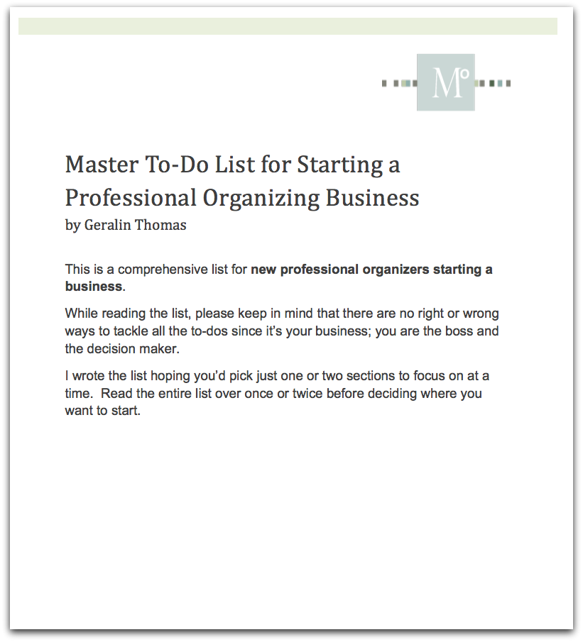 List For Starting A Professional Organizing Business 2019 Pro