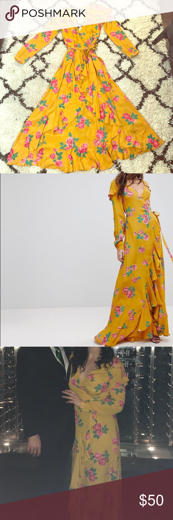 Asos long sleeve wrap maxi dress in bold floral my posh picks