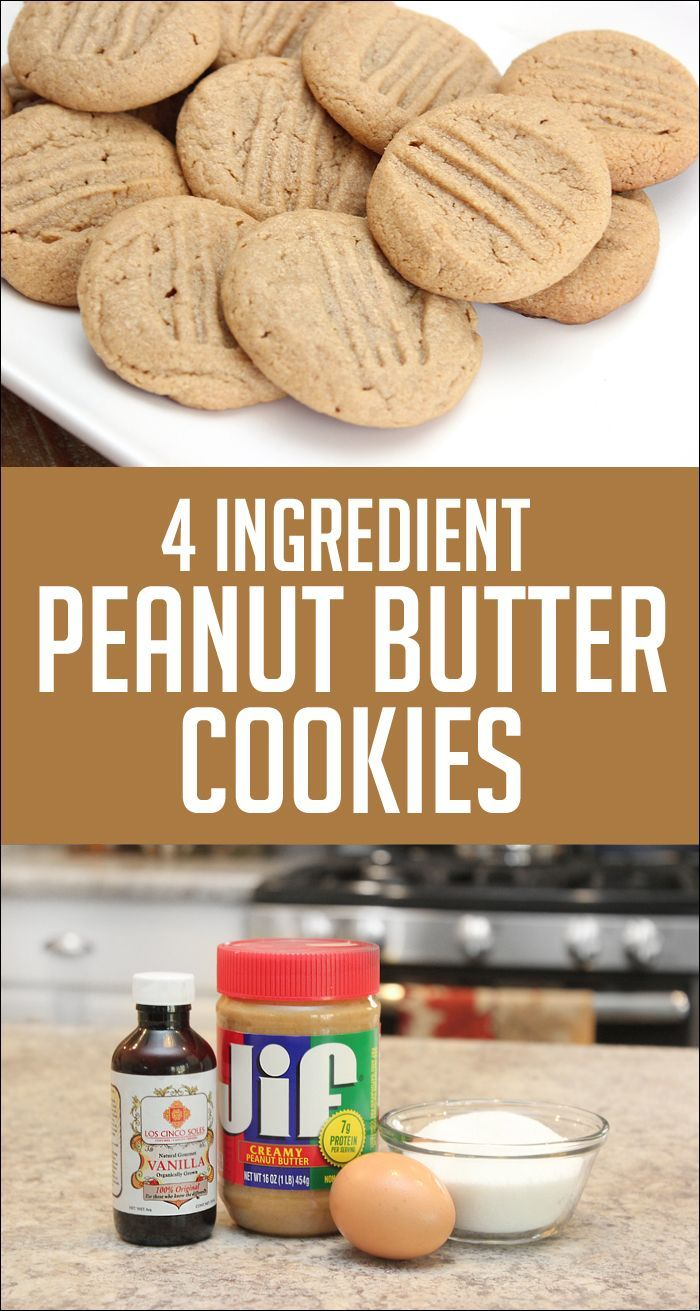 4 Ingredient Peanut Butter Cookies - Quick and Easy Recipe