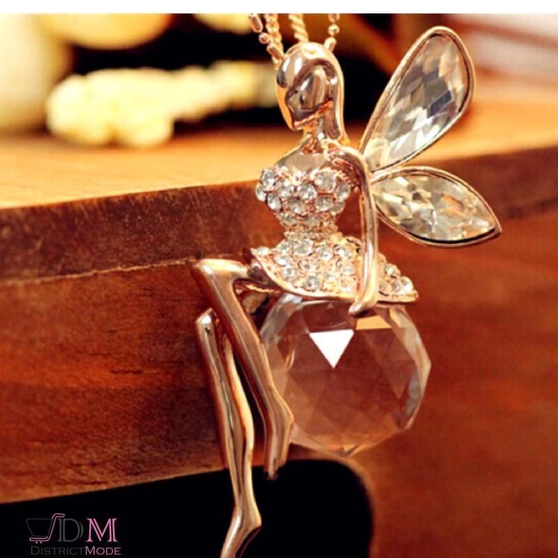 Collier pendentif f e strass et cristal un adorable - Fee clochette assise ...