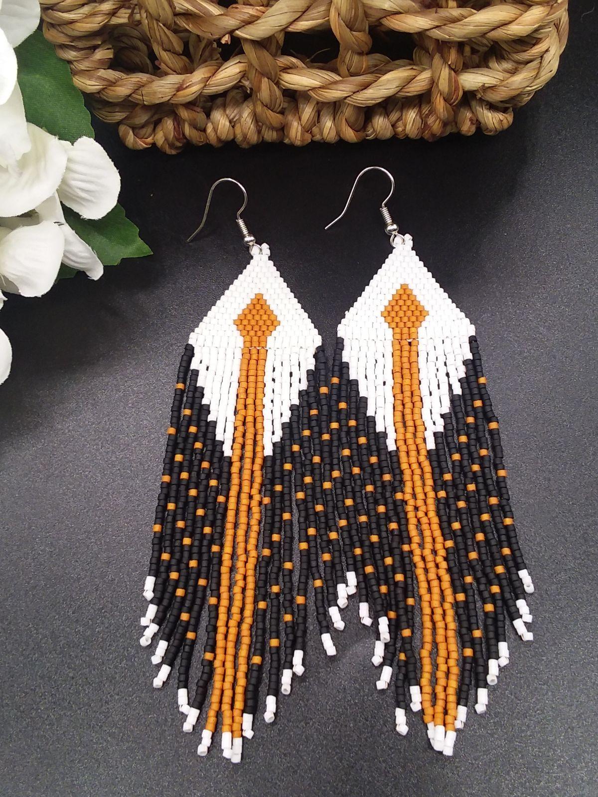 fringe diy jewelry tutorial rose gold wings Bead earring pattern brick stitch
