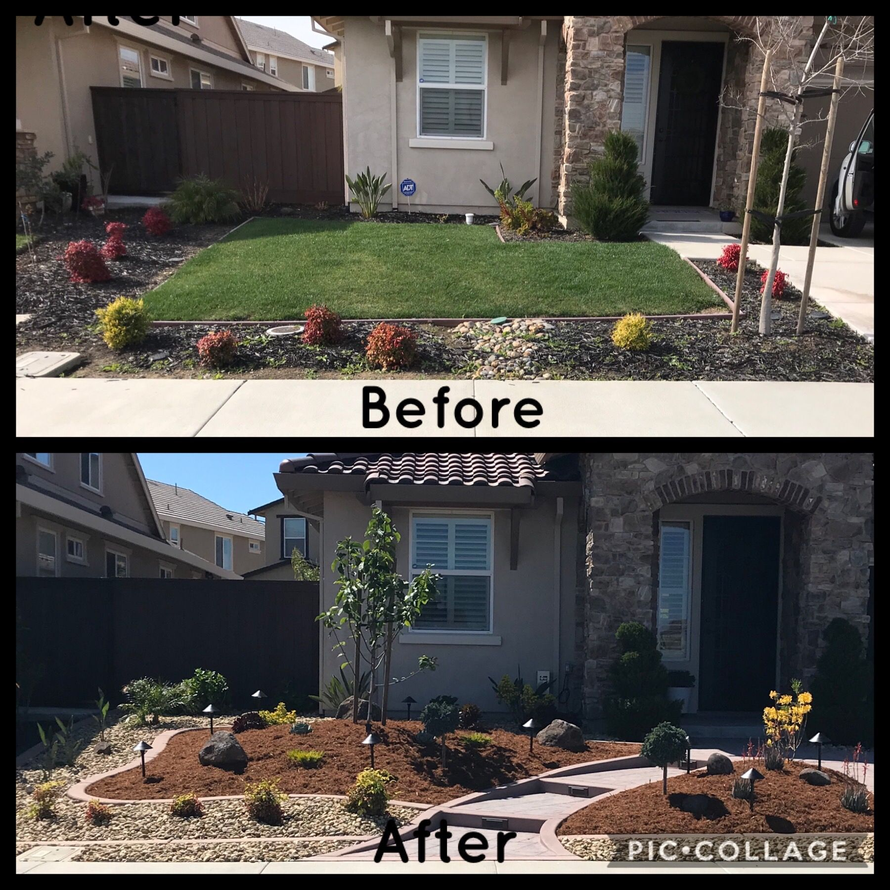 We Redesigned Our Front Landscape Removing The Lawn And Adding A New Hardscape We Hired A Contr Yard Water Fountains Pergola Pictures Outdoor Garden Furniture