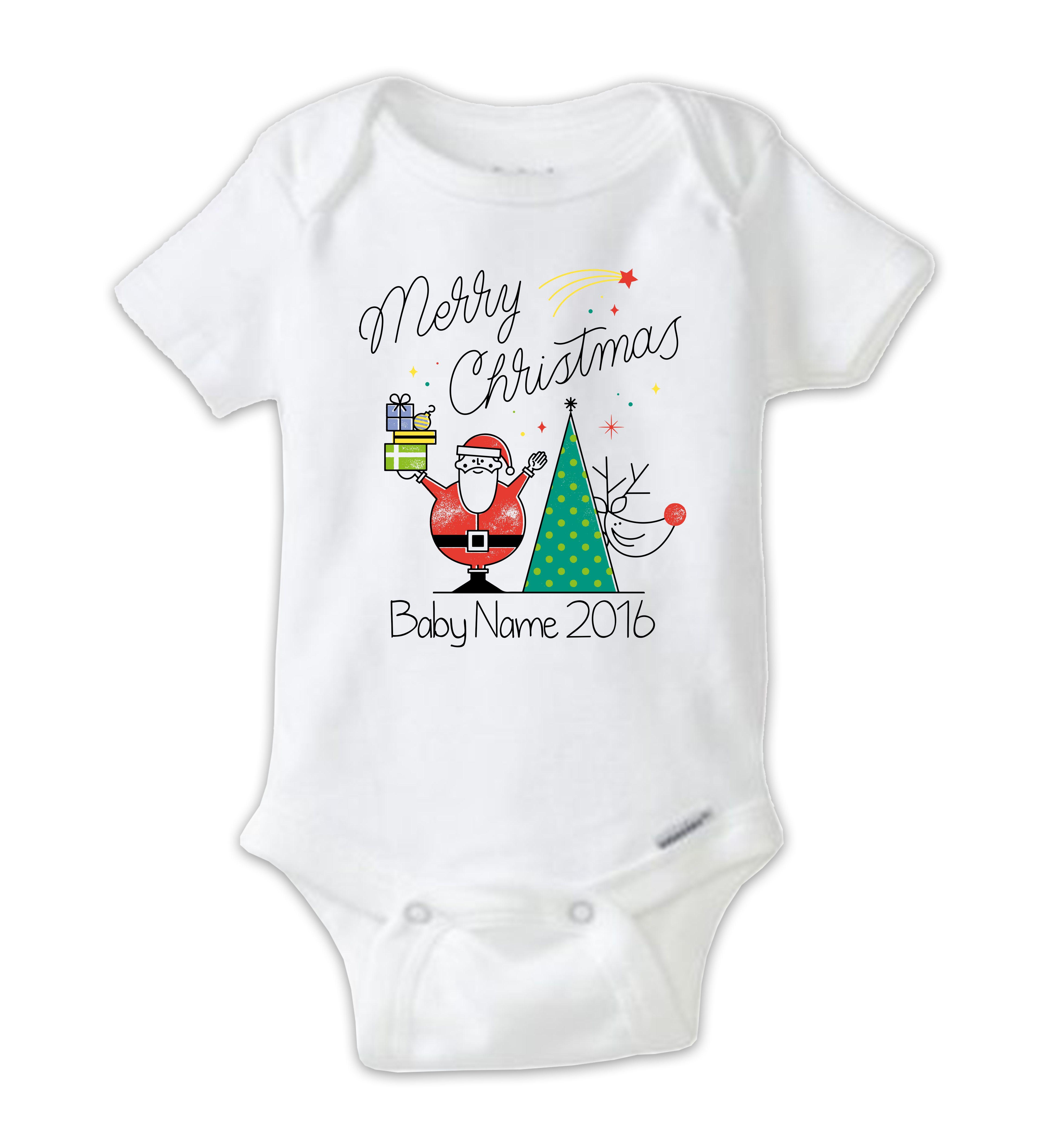 Personalized Christmas Baby Onesie, Christmas Bodysuit