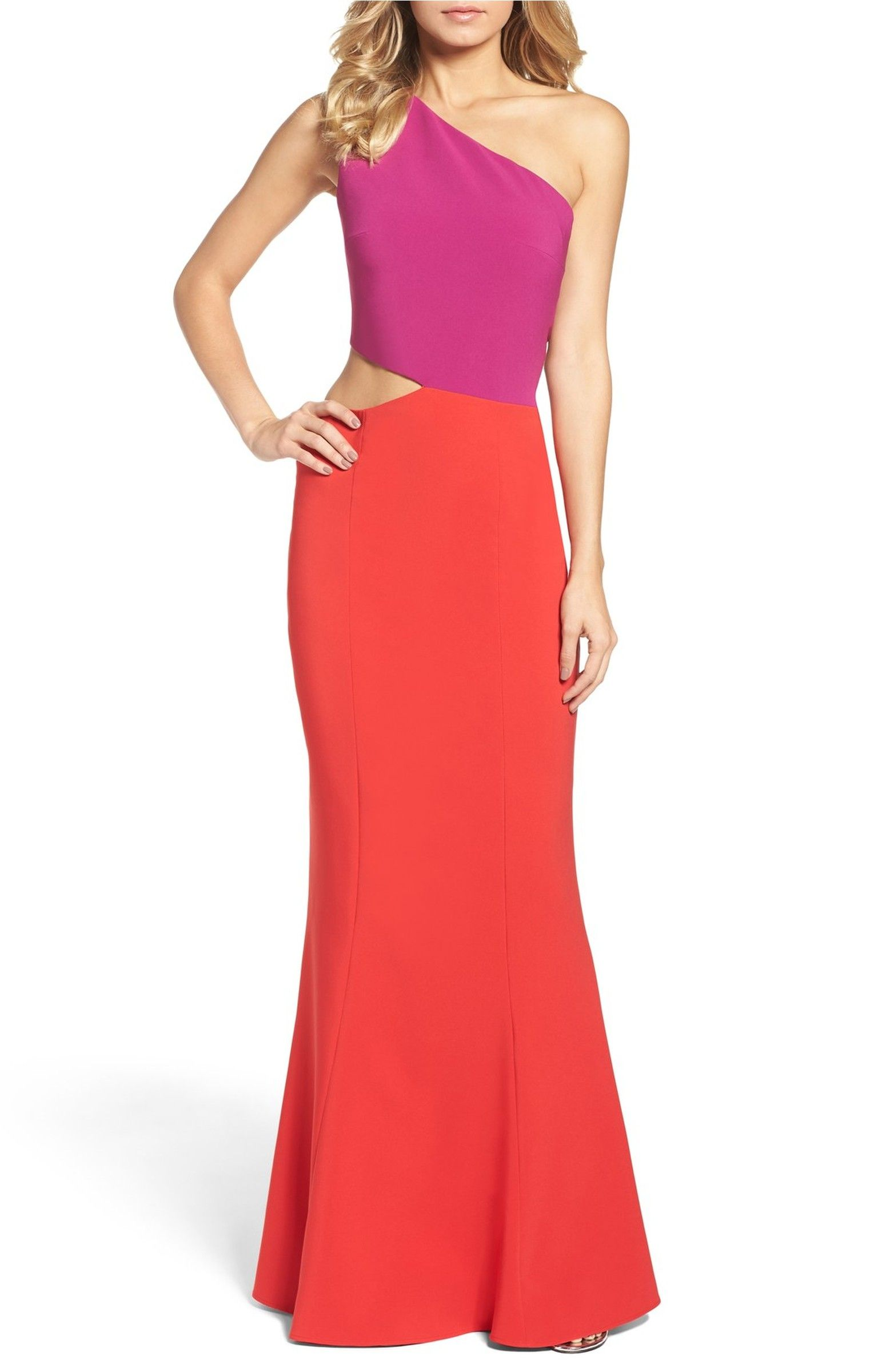 23ae5e0431d Main Image - Maria Bianca Nero Colorblock One-Shoulder Woven Gown ...